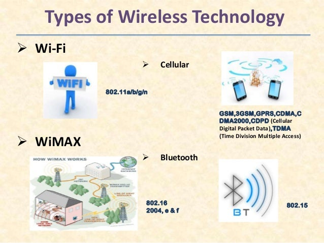 Wireless signals four different types of wireless technologies