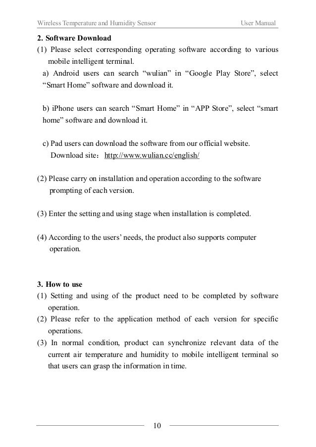 Wireless Temperature and Humidity Sensor User Manual  Ⅵ. Notes  About the installation  When using the product for the fir...
