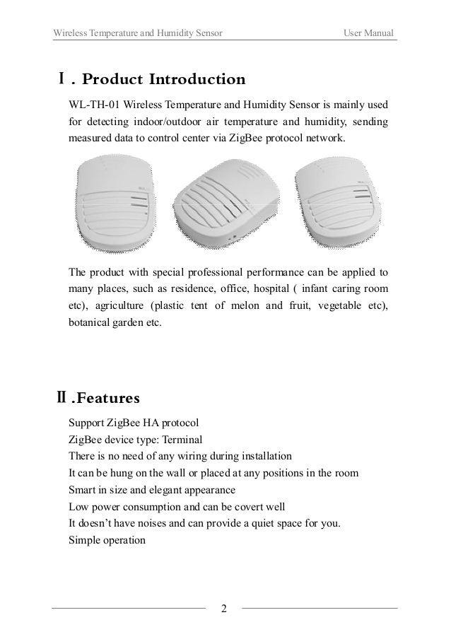 Wireless Temperature and Humidity Sensor User Manual  Ⅲ.Function illustration  3  Main body  Battery cover  LED light  Mul...