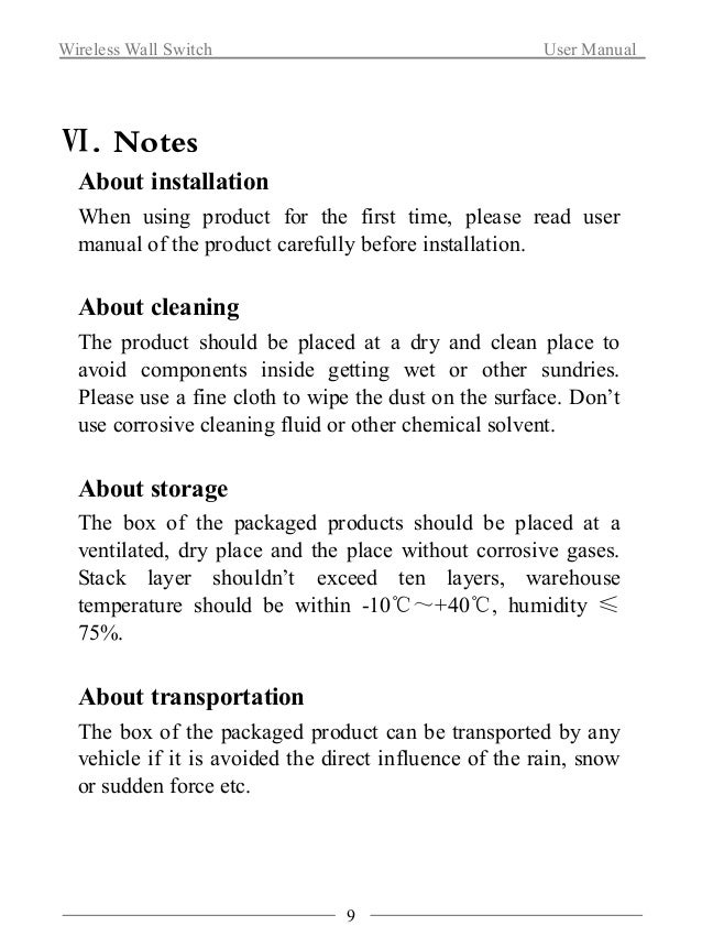 Wireless Wall Switch User Manual  About after sale service  If product breaks down, non-professionals shouldn't take it  a...