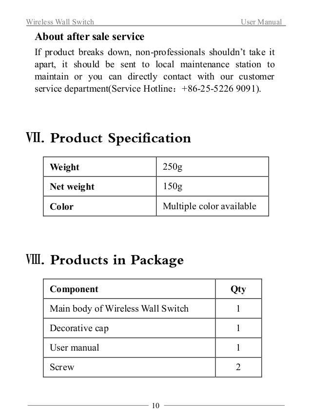 Wireless Wall Switch User Manual  Ⅸ. Ordering Information  Art. No WLPN1107016  Model WL-SFB-B01  Package Size 138×118×70m...