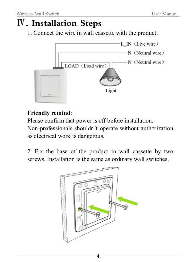 Wireless Wall Switch User Manual  3. Fold the decorative cap, installation complete.  Ⅴ. Application Method  1. Network Co...