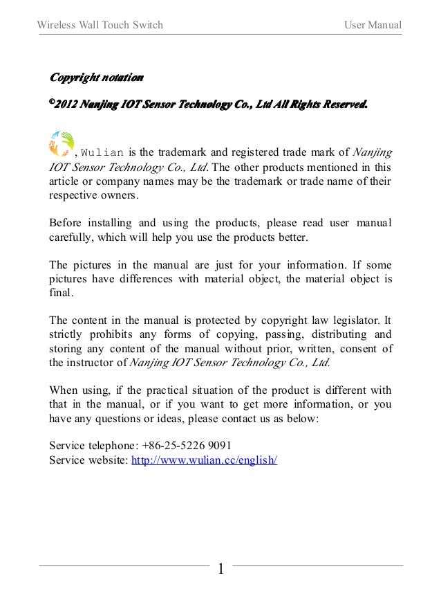 Wireless Wall Touch Switch User Manual  Ⅰ. Product Introduction  WL-SFB-C01 wireless wall touch switch (double keys) is a ...