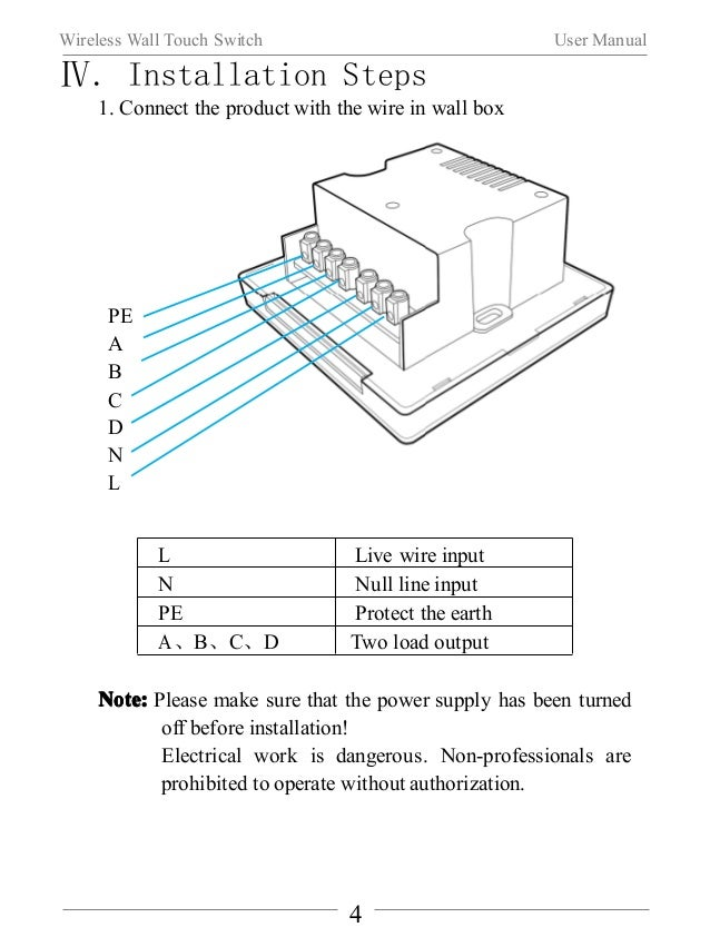 Wireless Wall Touch Switch User Manual  2. Fix the base of the wireless wall touch switch to specified wall  box by two sc...