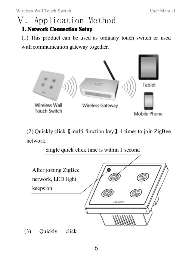 Wireless Wall Touch Switch User Manual  【multi-function key】three times,sending out a binding request.  (Note:This functio...