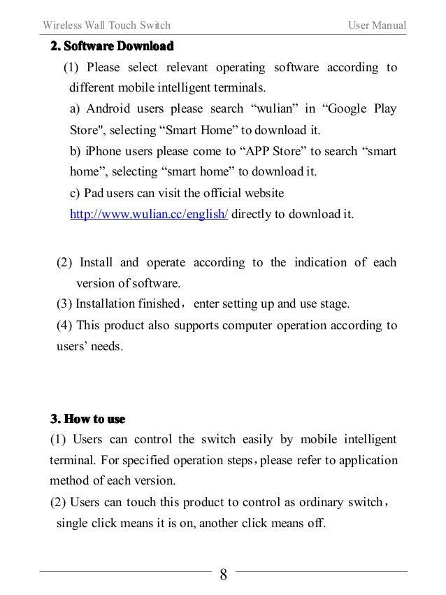 Wireless Wall Touch Switch User Manual  9  Ⅵ.Notes  IIIInnnnssssttttaaaallllllllaaaattttiiiioooonnnn  When using the produ...