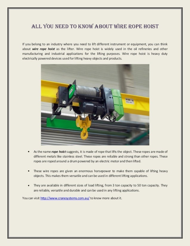 Wire rope hoist all you need to know about