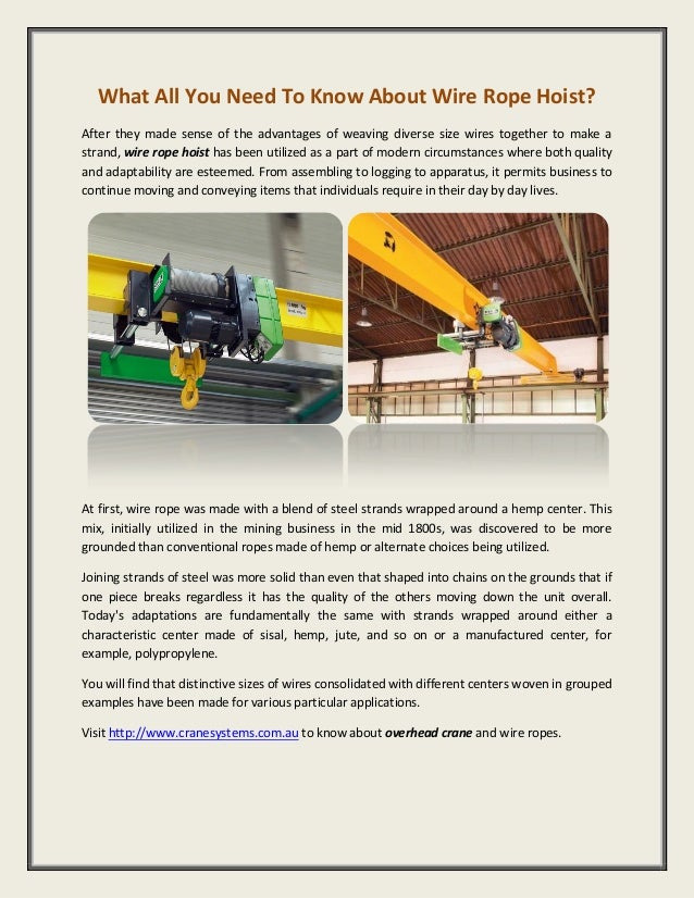 Wire rope hoist what all you need to know about
