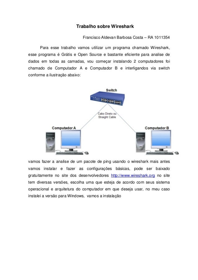 Trabalho sobre Wireshark                                Francisco Aldevan Barbosa Costa – RA 1011354      Para esse trabal...