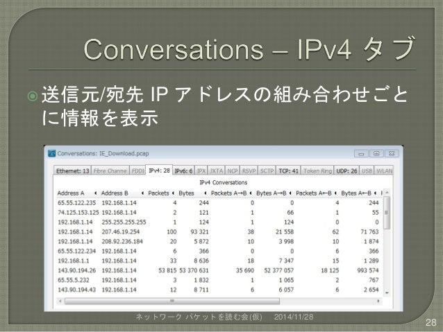 送信元/宛先IP アドレスの組み合わせごと  に情報を表示  ネットワークパケットを読む会(仮) 2014/11/28  28