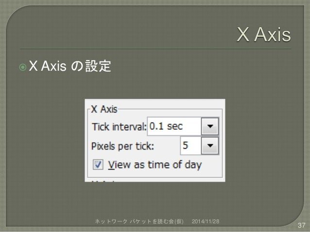 X Axis の設定  ネットワークパケットを読む会(仮) 2014/11/28  37