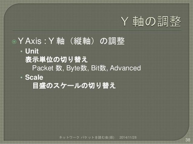 Y Axis : Y 軸(縦軸)の調整  • Unit  表示単位の切り替え  Packet 数, Byte数, Bit数, Advanced  • Scale  目盛のスケールの切り替え  ネットワークパケットを読む会(仮) 2014/11...