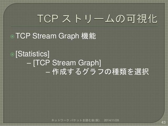 TCP Stream Graph 機能   [Statistics]  – [TCP Stream Graph]  – 作成するグラフの種類を選択  ネットワークパケットを読む会(仮) 2014/11/28  43