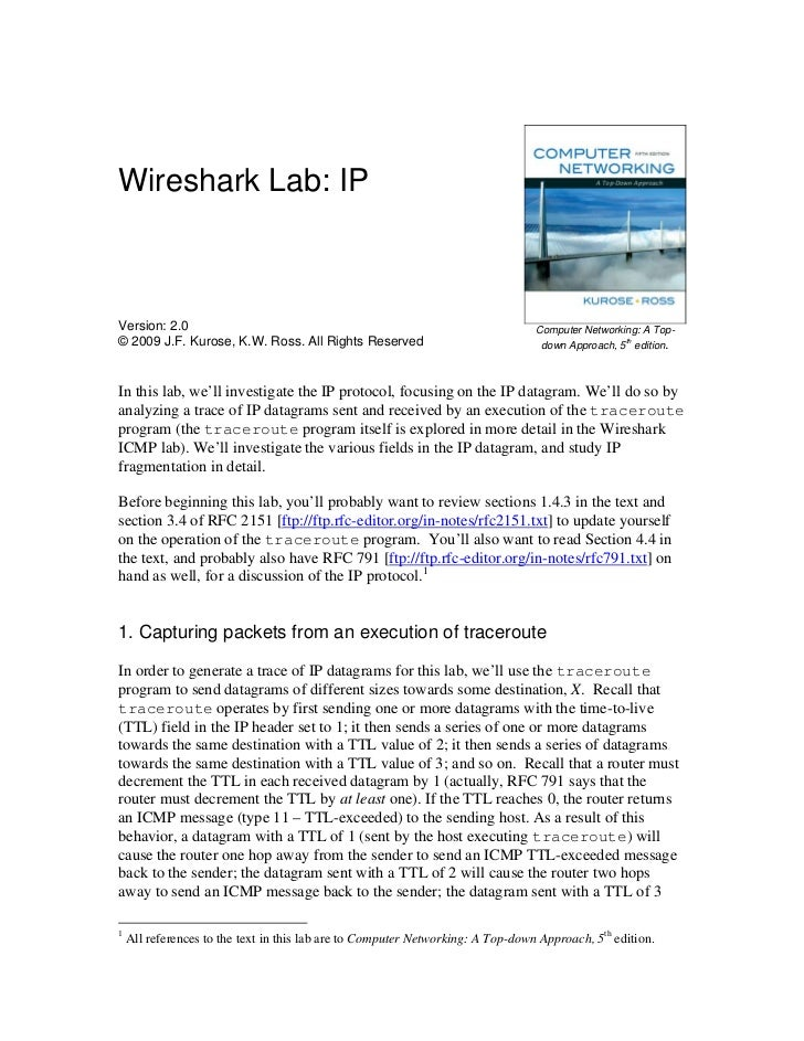 Wireshark Lab: IPVersion: 2.0                                                                     Computer Networking: A T...