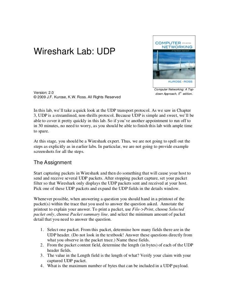 Wireshark Lab: UDP                                                                     Computer Networking: A Top-Version:...