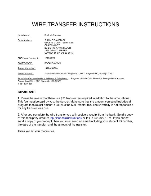 University of california riverside wire transfer b a