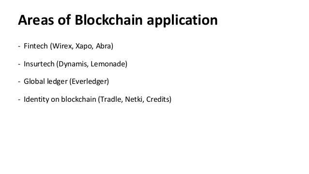 Areas of Blockchain application Fintech (Wirex,- Xapo, Abra) Insurtech- (Dynamis, Lemonade) Global ledger- (Everledger) Id...