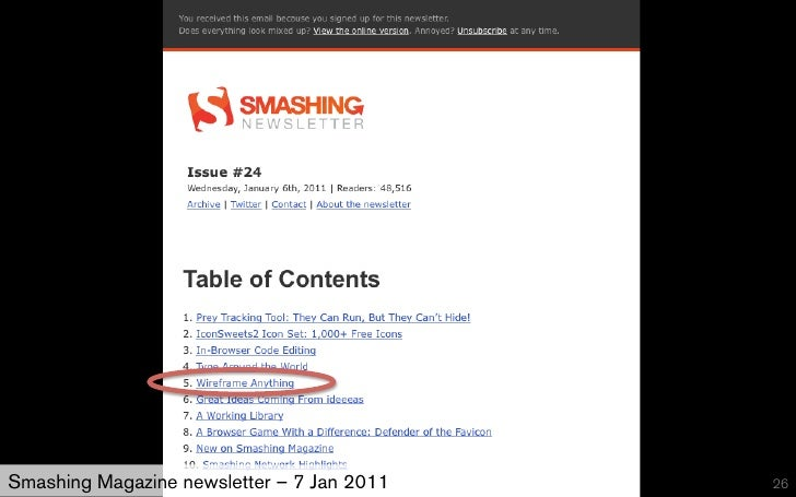 Smashing Magazine newsletter – 7 Jan 2011   26