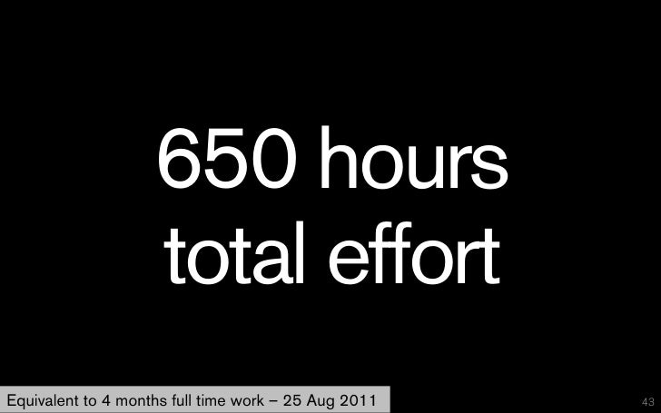 650 hours                    total effortEquivalent to 4 months full time work – 25 Aug 2011   43