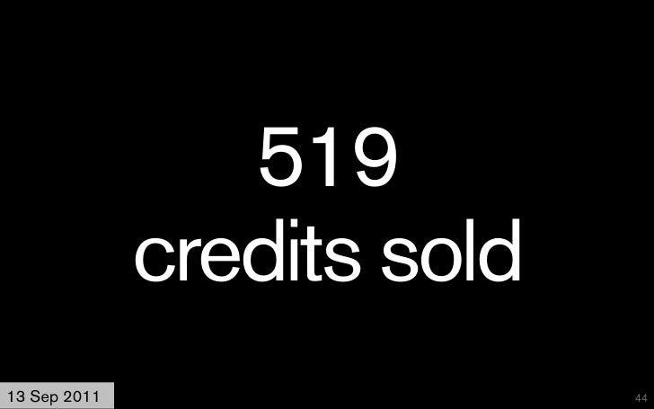 519              credits sold13 Sep 2011                  44