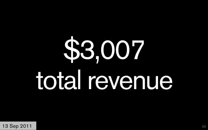 $3,007              total revenue13 Sep 2011                   45