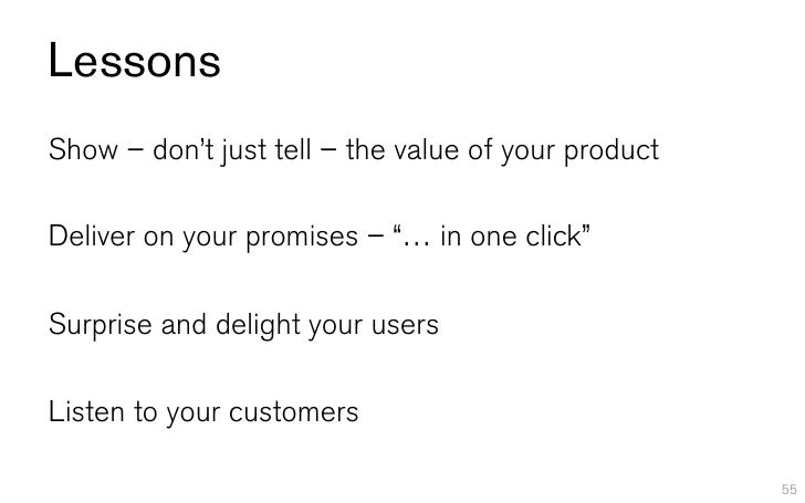 """LessonsShow – don't just tell – the value of your productDeliver on your promises – """"… in one click""""Surprise and delight y..."""