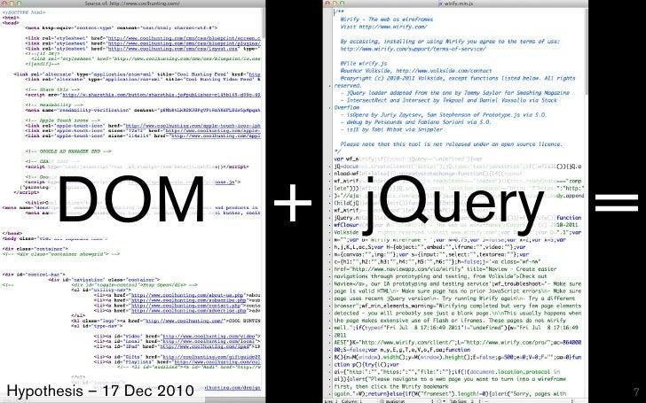 DOM + jQuery =Hypothesis – 17 Dec 2010   7