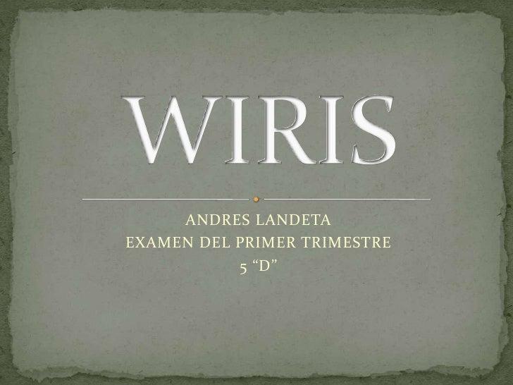 "ANDRES LANDETA <br />EXAMEN DEL PRIMER TRIMESTRE <br />5 ""D""<br />WIRIS<br />"