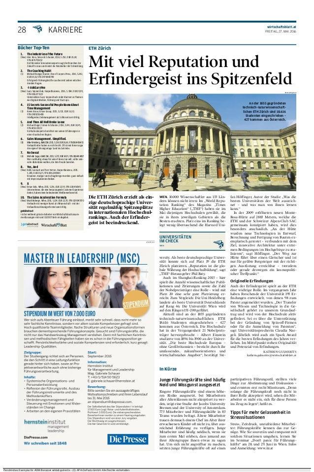 28 UNIVERSITÄTEN IM CHECK Teil 6 wirtschaftsblatt.at FREITAG, 27. MAI 2016 ANZEIGE ETH Zürich Mit viel Reputation und Erfi...