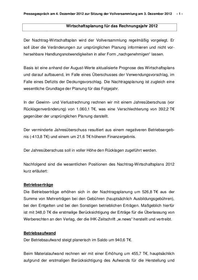 Pressegespräch am 4. Dezember 2012 zur Sitzung der Vollversammlung am 3. Dezember 2012   -1-                        Wirtsc...