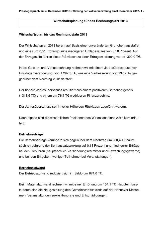 Pressegespräch am 4. Dezember 2012 zur Sitzung der Vollversammlung am 3. Dezember 2012- 1 -                         Wirtsc...
