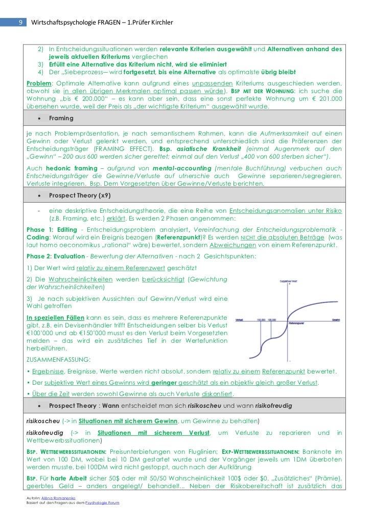 Wirtschaftspsychologie Prüfungsfragen (1.prüfer kirchler)