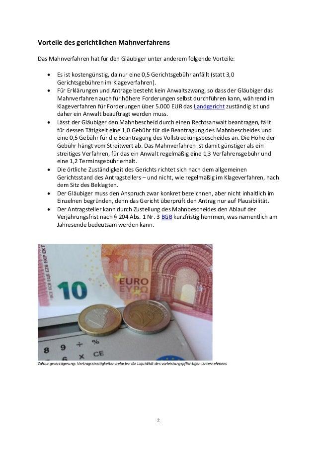 2 Vorteile des gerichtlichen Mahnverfahrens Das Mahnverfahren hat für den Gläubiger unter anderem folgende Vorteile:  Es ...