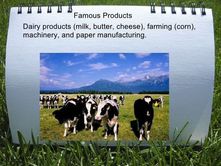 Dairy products (milk, butter, cheese), farming (corn), machinery, and paper manufacturing.  Famous Products