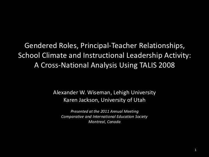 Gendered Roles, Principal-Teacher Relationships,School Climate and Instructional Leadership Activity:    A Cross-National ...
