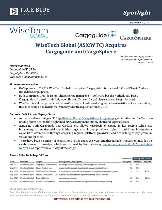 wisetech global asx wtc acquires cargoguide and cargosphere rh slideshare net