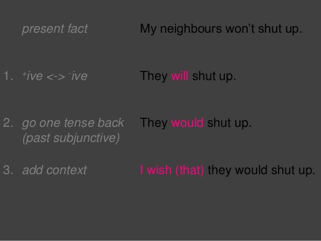 present fact My neighbours won't shut up. 1. +ive <-> -ive They will shut up. 2. go one tense back (past subjunctive) They...
