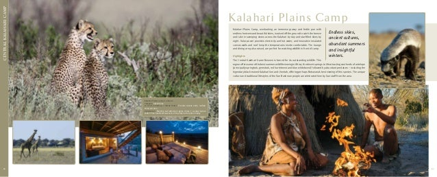 C entral kalahari CAMP  K alahari Plains Camp Kalahari Plains Camp, overlooking an immense grassy and fertile pan with end...