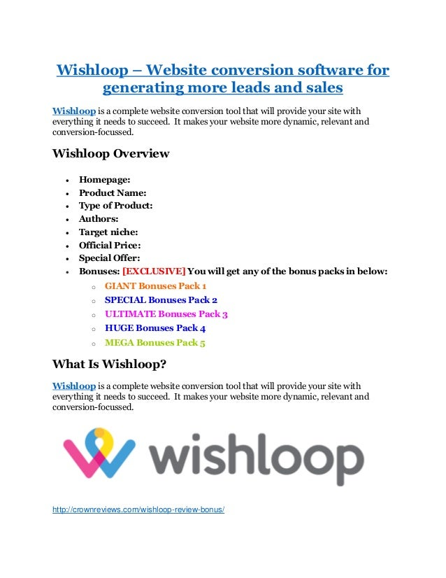 Wishloop – Website conversion software for generating more leads and sales Wishloop is a complete website conversion tool ...