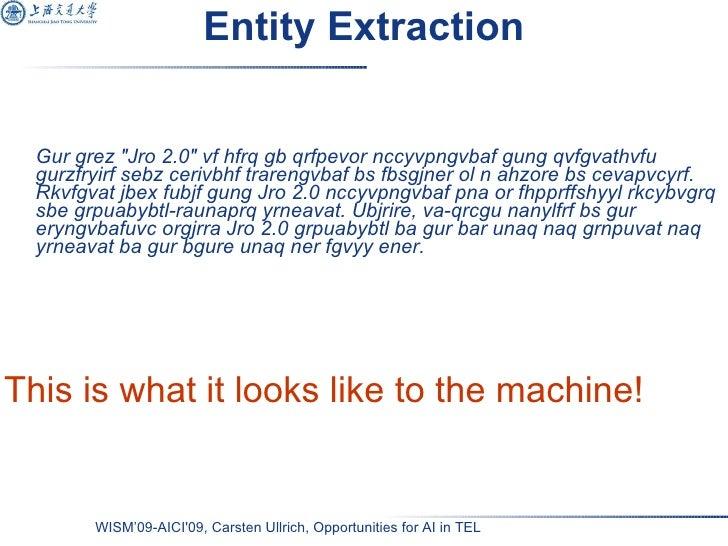 Entity Extraction <ul><li>Gur grez &quot;Jro 2.0&quot; vf hfrq gb qrfpevor nccyvpngvbaf gung qvfgvathvfu gurzfryirf sebz c...