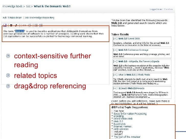 <ul><li>context-sensitive further reading </li></ul><ul><li>related topics </li></ul><ul><li>drag&drop referencing </li></ul>