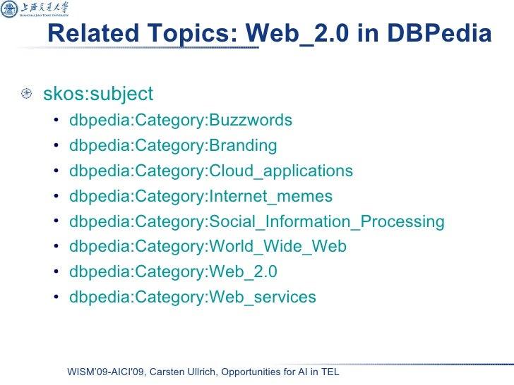 Related Topics: Web_2.0 in DBPedia <ul><li>skos:subject   </li></ul><ul><ul><li>dbpedia:Category:Buzzwords </li></ul></ul>...
