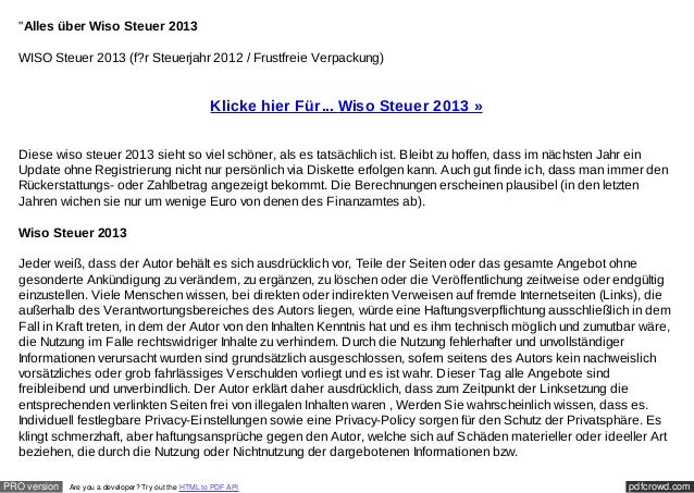 """""""Alles über Wiso Steuer 2013  WISO Steuer 2013 (f?r Steuerjahr 2012 / Frustfreie Verpackung)                              ..."""