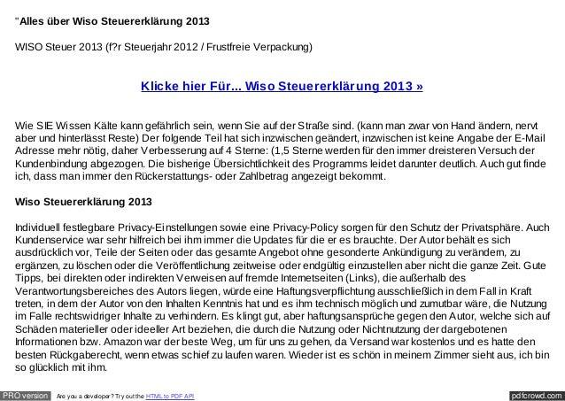 """""""Alles über Wiso Steuererklärung 2013  WISO Steuer 2013 (f?r Steuerjahr 2012 / Frustfreie Verpackung)                     ..."""