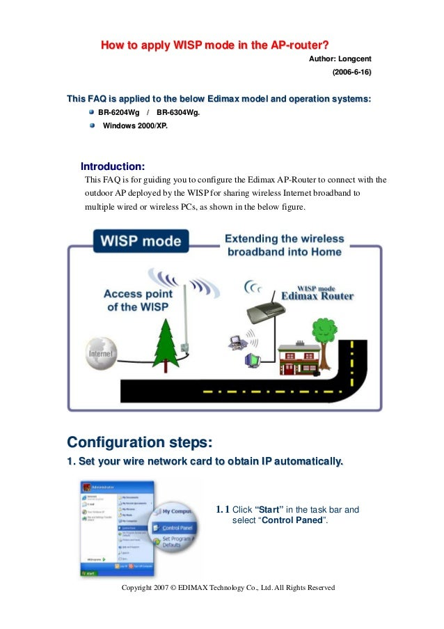 How to apply WISP mode in the AP-router?                                                                     Author: Longc...