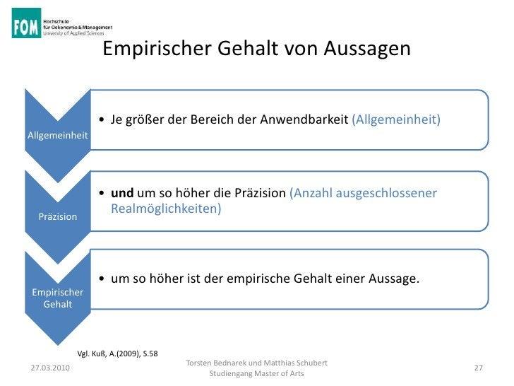 Empirischer Gehalt von Aussagen                    • Je größer der Bereich der Anwendbarkeit (Allgemeinheit)Allgemeinheit ...