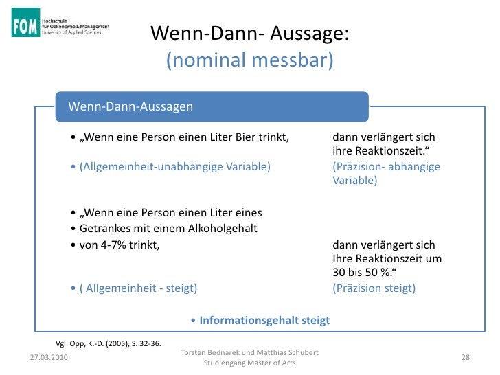 """Wenn-Dann- Aussage:                                    (nominal messbar)             Wenn-Dann-Aussagen             • """"Wen..."""
