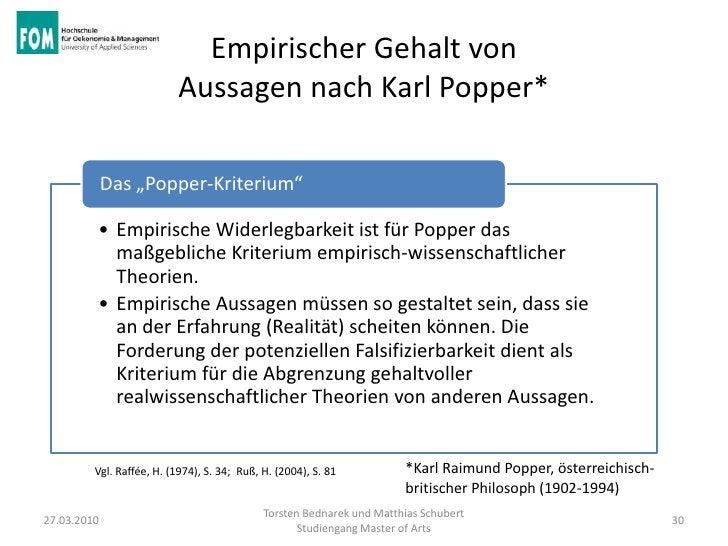 """Empirischer Gehalt von                          Aussagen nach Karl Popper*             Das """"Popper-Kriterium""""         • Em..."""