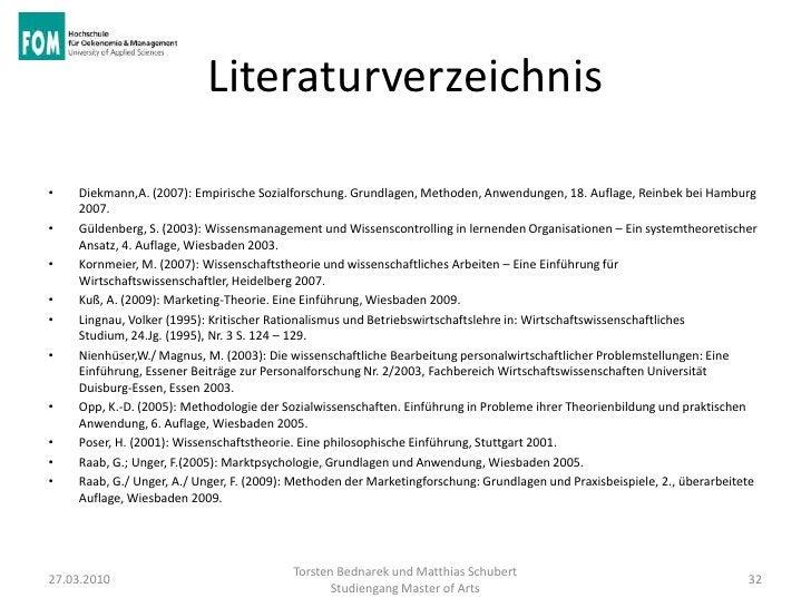 Literaturverzeichnis•   Diekmann,A. (2007): Empirische Sozialforschung. Grundlagen, Methoden, Anwendungen, 18. Auflage, Re...