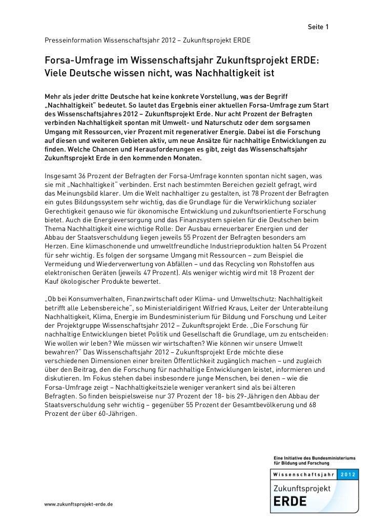 Seite 1Presseinformation Wissenschaftsjahr 2012 – Zukunftsprojekt ERDEForsa-Umfrage im Wissenschaftsjahr Zukunftsprojekt E...